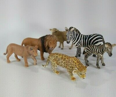 Schleich Lot of Six (6) Safari Jungle Animals / lions zebras leopard and sheep