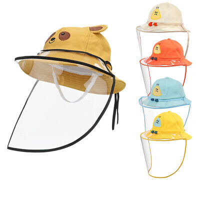 Kids Safety Bucket Cap Sun Hat Protective Fishermen Cap + Full Face Cover Shield