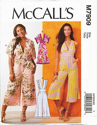 Mccalls Sewing Pattern 7909 Womens 18W-24W Easy Deep V-Neck Jumpsuits Plus Sizes