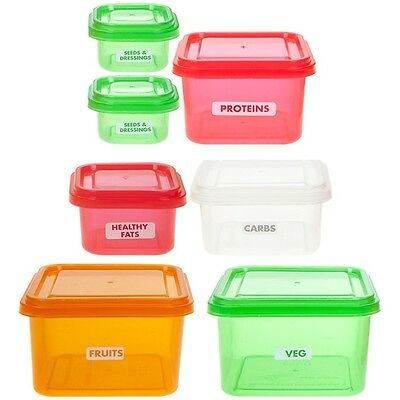 7 x Healthy Eating Portion Control Pots Marked Containers Weight Loss Diet Slim