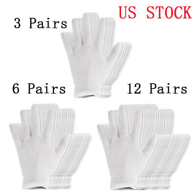 12 Pairs Cotton Work Gloves Antique Eczema Coin Handling Cosmetic Inspection 7""