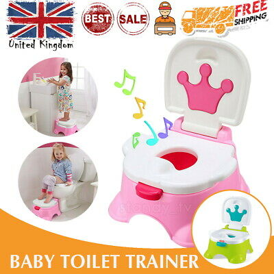 UK 3 in 1 Baby Toilet Trainer Child Kid Music Potty Urinal Training Seat Safety