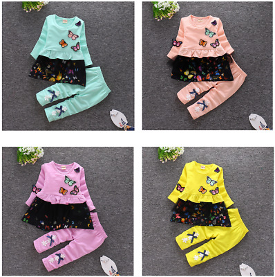 2Pcs Toddler Baby Girls Butterfly embroidery Long Sleeve cotton Tops +pants Sets