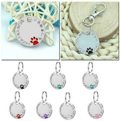 Personalized Dog Tags Paw Rhinestone Pet Cat ID Name Engraved Free Hair Tag T4C6