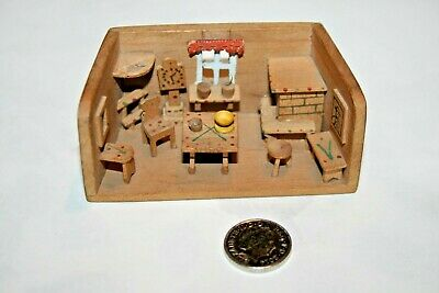 Vintage Miniature 3D Folk Art Wooden Shadow Box Diorama European Alp Hut Kitchen