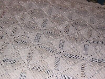 """ANTIQUE HAND MADE BEDSPREAD / COVERLET / TABLECLOTH – HAND CROCHETED 88"""" by 106"""""""