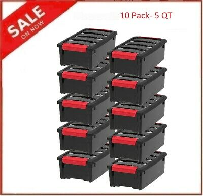 Plastic Storage Tote Container Black Stackable Pull Box 10 Pack Set With Lid Bin