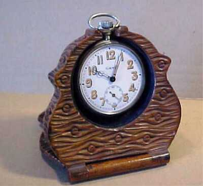 Antique High Quality Carved Wood Folding Pocket Watch Travelling Case And Stand