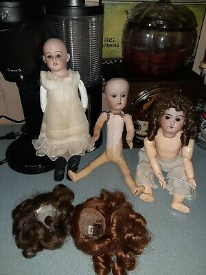 Lot Of Three Adorable Antique Bisque & Composition German Dolls + Two Extra Wigs