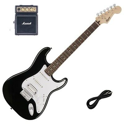 Squier Stratocaster HSS Hard Tail Black & Marshall MS-2 Guitar Amp, Lead Package