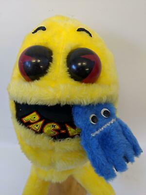 RARE Vintage 1982 Stuffed Figure PAC-MAN Hand Puppet with Blue Ghost