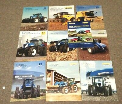 10 2000s NEW HOLLAND TRACTOR & COMBINE BROCHURES T6 70 T7 T7000 T8 T9 TG TX  CR