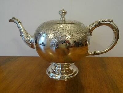 GOOD, RARE ANTIQUE SCOTTISH STERLING SILVER BULLET SHAPED TEAPOT EDINBURGH c1847
