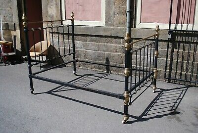 Victorian Brass and Iron Double Bed with Mother of Pearl Inlay