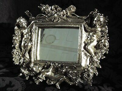 Vintage Sterling Silver Easel Mirror Beautifully Decorated with Cherub ~ Putti