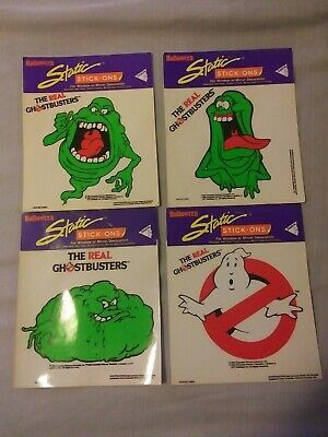 NOS The Real Ghostbusters Static Stick-Ons 1986 Vinyl Stickers Set of 4