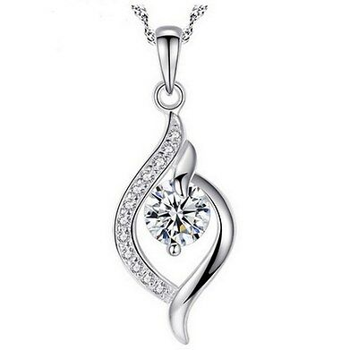 """925 Sterling Silver 18"""" Chain Waterdrop Cubic Zirconia Pendant Necklace Gift Box"""