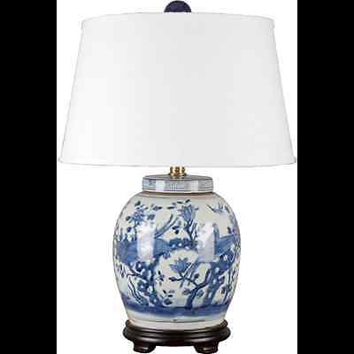 CLASSIC CHINESE BLUE AND WHITE PORCELAIN ORIENTAL ginger jar lamp flowers birds