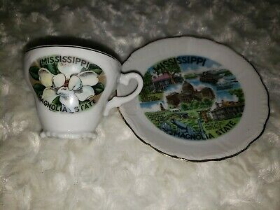 Mississippi Magnolia State Vintage Souvenir Co8llector's Plate & Cup Collectible