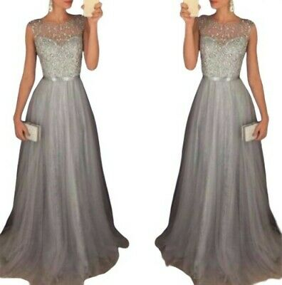 Women Formal Wedding Sequin Bridesmaid Evening Party Ball Gown Prom Long Dress L
