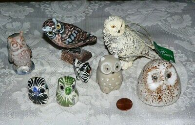 Sweet Collection 8 Owl Figurines-Mexico, Kurt's Adler, Porcelain, Wood, Pottery