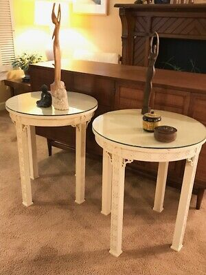 Pair of Vintage Chinese Chippendale Lamp Tables by Kindel