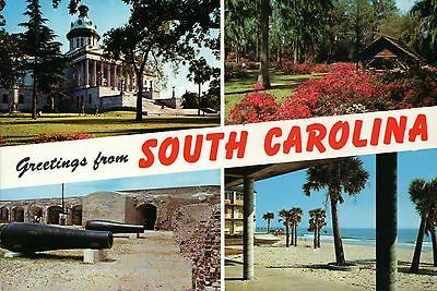 Greetings from South Carolina, Columbia State Capitol, Fort Sumter etc. Postcard