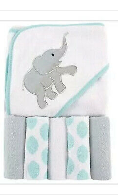 Luvable Friends Hooded Towel Washcloth Baby One Size Elephant Mint Ser 6pc New