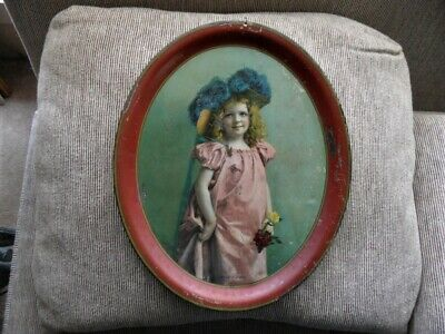 >orig. 1904 Vinage Tray *LOVELY YOUNG MISS* The Meek Company, Coshocton, Ohio