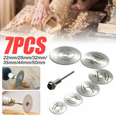 7Pcs 22-50mm HSS Circular Saw Blade Cutting Discs Kit and Mandrel for Drill