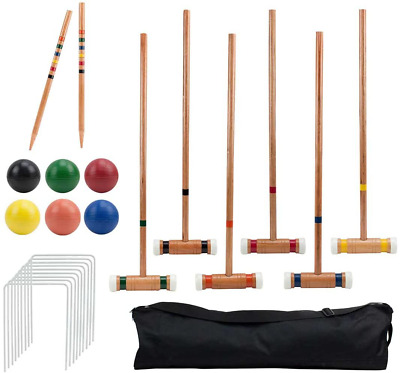 Six-Player Deluxe Croquet Set with Wooden Mallets, Colored Balls, & Sturdy Carry