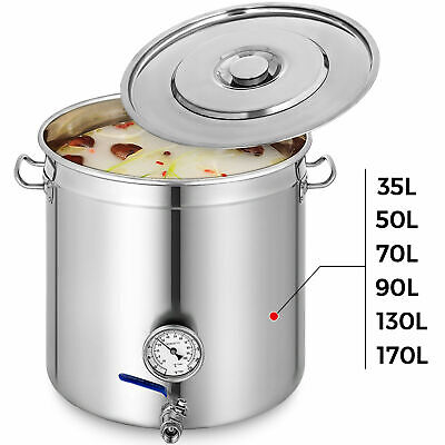 35-170L Stainless Steel Stock Pot W/Thermometer Brew Kettle Polished Cooking Pot