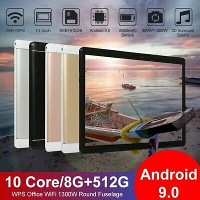 """10.1"""" Tablet PC 8G+512G 10 Core Android 9.0 Camera Wifi Phablet PAD HD Camera"""