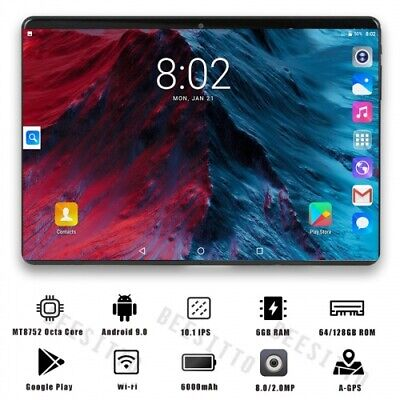 2020 latest 10 Inch Tablet Android 9.0 Octa Core 6GB RAM is 128GB ROM 3G 4G FDD