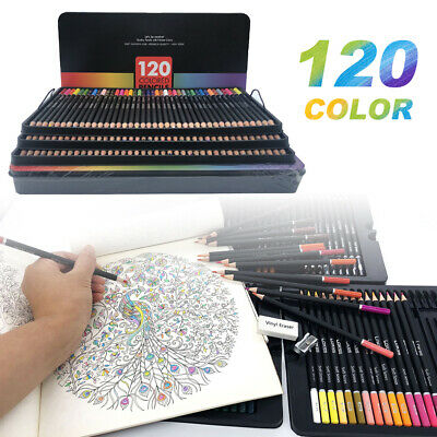 120Pcs Coloured Drawing Pencils Set Artist Colouring Sketching Assorted Tin Case