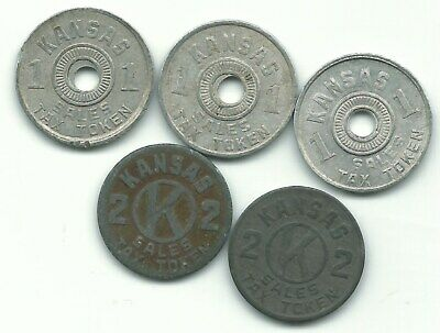 Vintage Lot Of 5 Kansas One And Two Sales Tax Tokens-Jul553