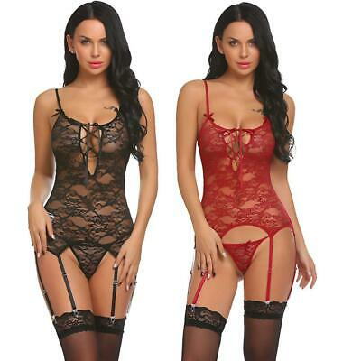Women Sexy Lingerie Gartered Bodysuit Lace Teddy with G-String P0D
