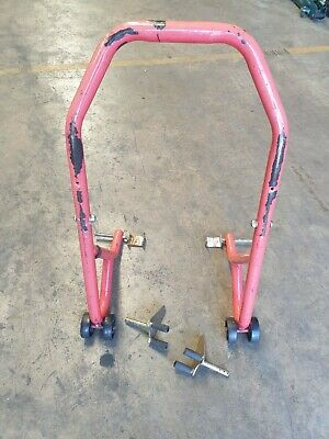 2 x UNIVERSAL MOTORCYCLE  PADDOCK STAND RED