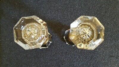 Vintage Clear Glass 8 Point Door Knobs (2 pair)