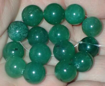 15 old stock Natural Green Jade Beads, 9.5-10mm, #S1187