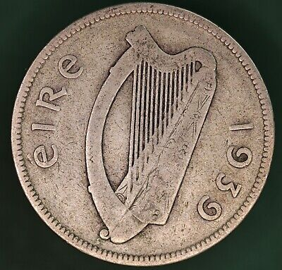 1939 Irish EIRE Ireland Florin/ two shilling 2s coin, 75% silver *[17656]