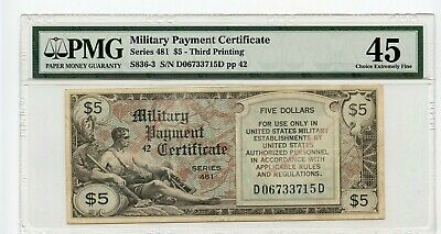Series 481 $5 Military Payment Certificate (Choice Extremely Fine 45) PMG