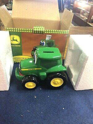 2000 Johnny Tractor Ceramic Bank (John Deere Collectible) New in box NOS NR