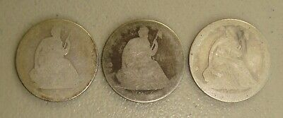 Lot of (3) Seated Liberty Silver Half Dollars Low Grade