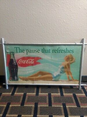 Antique1950s/1960s Dbl Sided Coca Cola Poster looks like origin aluminum frame,