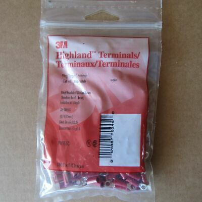 New 3M Highland Terminals RV18-6C Vinyl Insulated Butted Seam 22-18AWG, 100 Ea