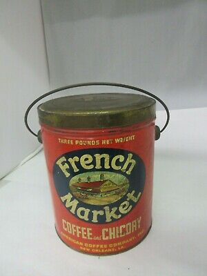 Vintage French Market 3 Lb Pail  Coffee Tin   Advertising Collectible  484-H
