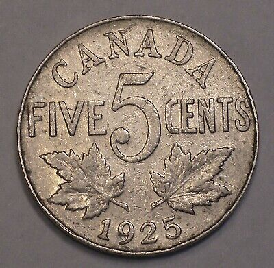 1925 CANADA King George V Five Cent Coin RARE DATE
