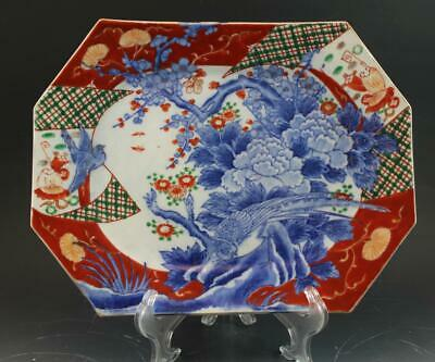 C1900 Japanese Imari Porcelain Meiji Period 8 Sided Charger Platter Signed