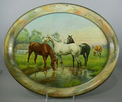 Antique Lithographed Tin Large Oval Serving Tray -- HORSES